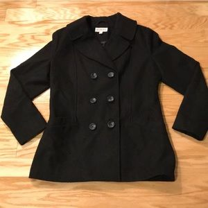 Merona black wool pea coat size L